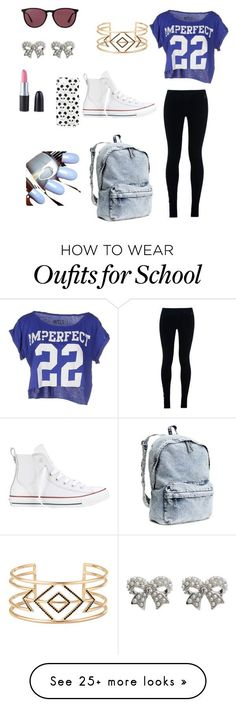 """First day of school"" by zoezemla on Polyvore featuring !M?ERFECT, NIKE, Converse, H&M, Stella & Dot, M&Co, Ray-Ban and Topshop"
