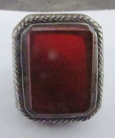 Vintage Square Red Coral Ring  Sterling by PureJewelryElegance