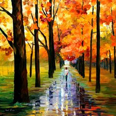 """YELLOW RAIN — PALETTE KNIFE Oil Painting On Canvas By Leonid Afremov - Size 30""""x30"""""""