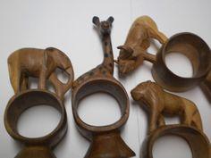 African Napkin Rings Vintage Hand Carved Wooden Set Ethnic Kenya 60s Wood Kenyan Collectible Africa Animals Tribal Figural Elephant Giraffe