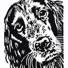 Cocker Spaniel Dog - Original Hand Pulled Linocut Print £18.00 on Folksy