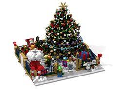 Welcome to the Modular Christmas Park: Meet Santa! This is a modular seasonal pleasure ground, which is very suitable to loosen up the modular street. It fits perfectly between two modular buildings. The core of the park is a huge and stable. Lego Modular, Lego Christmas Village, Lego Winter Village, Santa Christmas, Christmas Ideas, Christmas Ornaments, Lego Display, Lego Gingerbread House, Meet Santa