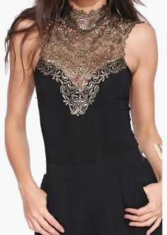 Bodysuit with lace detailing around the neckline, @scrapwedo