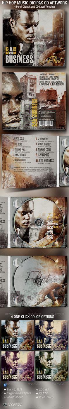 Hip Hop 4 Panel Digipak CD Artwork Template — Photoshop PSD #package #mixtape • Available here → https://graphicriver.net/item/hip-hop-4-panel-digipak-cd-artwork-template/5417469?ref=pxcr