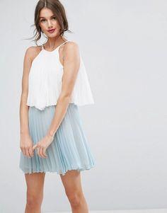 ASOS   ASOS Tiered Colourblock Mini Pleated Dress