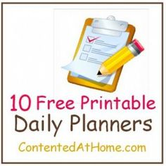 Free daily planner printables @Judy @ Contented at Home