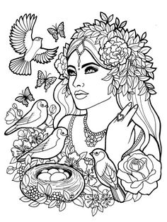 Fantasy Myth Mythical Mystical Legend Elf Elves  Coloring pages colouring adult detailed advanced printable Kleuren voor volwassenen coloriage pour adulte anti-stress kleurplaat voor volwassenen Line Art Black and White .