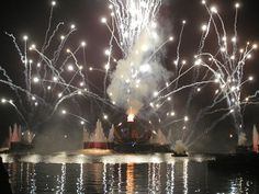 World Showcase Lagoon during_IllumiNations - #rent a pontoon boat and watch the fireworks, aka Disney Illuminations, from the water. It's an experience you won't' forget.