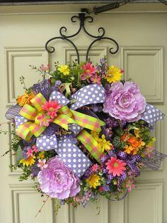 Spring, Summer, Easter Floral Grapevine Door Wreath Arrangement - Decoration #DesignedbyJanfromBerdiesBloomers