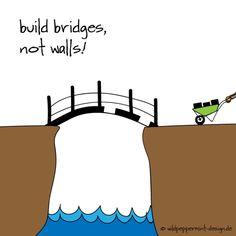 Kritzelbild-Build bridges not walls, brücken bauen statt mauern, metapher verbindung schaffen statt abschottung, illustration brücken bauen, heidruns kritzelbilder