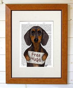 Loving this 'Free Hugs' Dachshund Dictionary Print on #zulily! #zulilyfinds