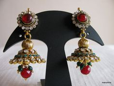 Jhumkas with green and red stones