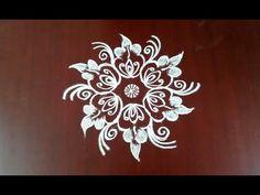 Leaf pattern rangoli design kolam  Everyday kolam design for beginners - YouTube Easy Rangoli Designs Diwali, Rangoli Designs Latest, Free Hand Rangoli Design, Small Rangoli Design, Rangoli Border Designs, Rangoli Ideas, Colorful Rangoli Designs, Rangoli Designs Images, Kolam Rangoli
