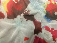 Heat manipulated dye sublimation print. Textiles Workshop - University of Portsmouth.