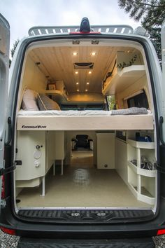 """Pluto"" Sprinter Conversion Garage - Everything About Off-Road Vehicles Bus Conversion, Van Conversion Interior, Sprinter Van Conversion, Van Conversion With Garage, Garage Conversions, Mini Camper, Bus Camper, Camper Life, Mini Bus"