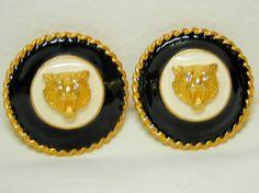 Gerard Yosca Earrings Clip Tiger Crystal Gold Tone Black Cream Lucite #GerardYosca