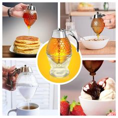"""I use it to hold my jam and honey!💖 No mess. I really like it🥞  Nothing compares to its sweet """"honeyed"""" flavor and our afternoon cup of tea just wouldn't be the same without a honey. What we don't love are messy, sticky honey bottles or jars filled with honey that has hardened and crystallized. This smart honey dispenser solves all those problems. It stores, warms and pours honey with ease."""