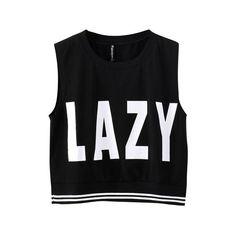 Lazy Print Stripe Hem Sleeveless T-Shirt ($11) ❤ liked on Polyvore featuring tops, shirts, crop top, tank tops, striped tank top, sleeveless t shirt, striped tank, pattern shirts and stripe crop top