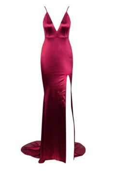 5ba1d27206 Buy Honey Couture MILEE Burgundy Berry Low Back Mermaid Evening Gown Dress  with Split at
