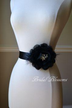 TERESA Black Vintage Inspired Bridal Sash by BridalBlossomsShoppe