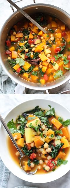 Moroccan Soup with Kale and Chickpeas plus links to 5 Vegetarian Soups That Even Meat Eaters Will Love | foodiecrush.com