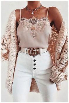 Bubble knit cardigan outfit idea for fall! Casual outfit with a cardigan, lace c. - Bubble knit cardigan outfit idea for fall! Casual outfit with a cardigan, lace cami, and white high - Cute Casual Outfits, Stylish Outfits, Stylish Clothes, Pretty Outfits, Dressy Casual Fall, Colorful Clothes, Amazing Outfits, Cute Fashion, Look Fashion