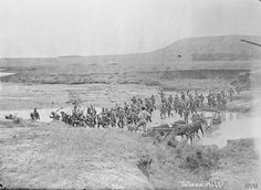 British troops crossing a river near Talana Hill, Natal Province (site of the Battle of Dundee, World Conflicts, St Helena, British Soldier, British Colonial, My Heritage, Our World, Military History, South Africa, Battle