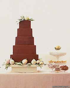 Cakes & Toppers Chocolate wedding cake adorned with sugared pears and bay leavesChocolate wedding cake adorned with sugared pears and bay leaves Square Wedding Cakes, Cool Wedding Cakes, Elegant Wedding Cakes, Beautiful Wedding Cakes, Gorgeous Cakes, Wedding Cake Designs, Wedding Cupcakes, Wedding Cake Toppers, Floral Wedding Cakes