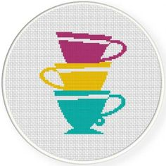Teacup Stack Cross Stitch Pattern