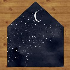 Starry Night Wedding Invitations — Hawthorne and Ivory Black envelope art! Envelope Art, Envelope Liners, Envelope Design, Paper Art, Paper Crafts, Diy Crafts, Creative Crafts, Creative Design, Mail Art Envelopes