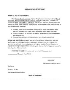 printable sample power of attorney template form