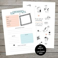 Create a bullet journal collection about your pet using this gorgeous printable. Cute cat planner stickers too! Click through to buy on Etsy.