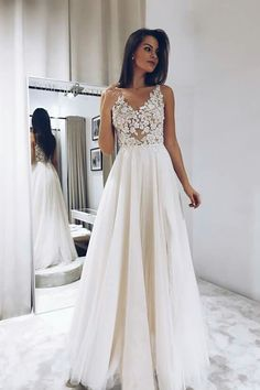 Eightree Wedding Dresses 2020 vestido de noiva Sleeveless Lace Appliques Bride Dress V Neck Simple Wedding Gown Backless, Cheap Evening Dresses, Modest Dresses, Cheap Dresses, Sexy Dresses, Prom Dresses, Formal Dresses, Long Dresses, Elegant Dresses, Dream Wedding Dresses