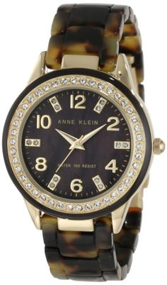 Anne Klein Women's Swarovski Crystal Accented Gold-Tone Tortoise Resin Watch