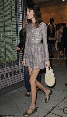 Alexa Chung turns heads in micro-mini dress | Mail Online  Alexa Chung turns heads in micro-mini dress: soft greys and gold flats.  http://www.beautyfashionfragrance.us/2017/06/12/alexa-chung-turns-heads-in-micro-mini-dress-mail-online/