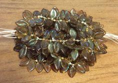 Czech Glass Bead Curved Leaf  12mm x 6 mm by gypsybeadpeddler, $4.06