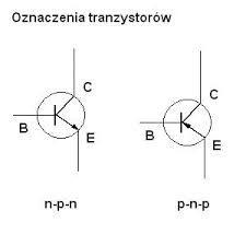 Rysunek Transystora 1)n-p-n 2)p-n-p