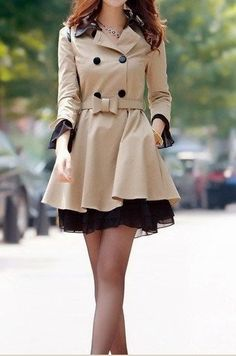 Cream Trench Coat with Bow for Fall #Fashion #Style #Look