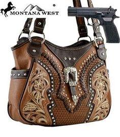 763c0b034441 Amazon.com  Montana West Buckle Shoulder Bag (Concealed Carry Purse) HANDBAG  - BROWN  Everything Else