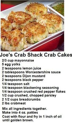 Joe's Crab Shack Crab Cakes Recipe ~ Wish I hadn't seen this, too busy to make or go directly to Joe's and eat some! They have the best I have ever eaten with the exception of a favorite restaurant in New Orleans. Crab Cake Recipes, Fish Recipes, Seafood Recipes, Appetizer Recipes, Cooking Recipes, Healthy Recipes, Cabbage Recipes, Recipies, Seafood Appetizers