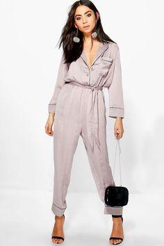 Jen Contrast Piping Pyjama Style Jumpsuit