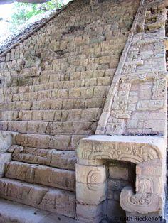 Hieroglyphic stair seen from the side, Copan, Honduras