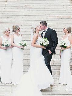 Mermaid Deep V-Neck Long Cheap White Satin Sleeveless Bridesmaid Dresses Online, Bridesmaid Dresses Online, Wedding Dresses, White Satin, Famous Brands, Dream Dress, Dress Making, Bodice, Mermaid, V Neck