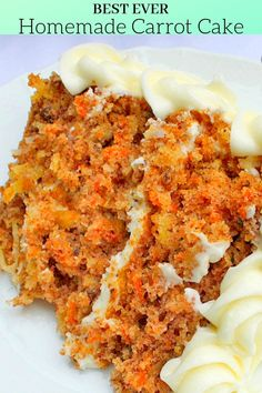 This scratch Carrot Cake Recipe is SO moist and flavorful! This scratch Carrot Cake Recipe is SO moist and flavorful!,cake This amazing scratch Carrot Cake is the BEST ever! Food Cakes, Cupcake Cakes, Cake Fondant, Homemade Cake Recipes, Carrot Recipes, Recipes For Carrots, Recipes With Cake Flour, Homemade Breads, Frosting Recipes