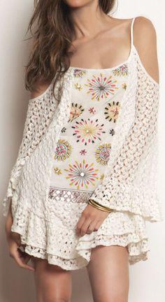 Boho Embroidery Crochet Dress ♥