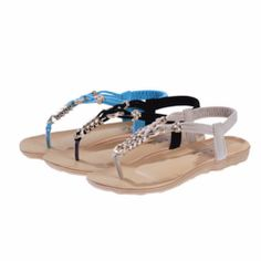 5ec8714c718d Trendy Stylish T-Strap Ankle Summer Beach Sandals Cute Flats