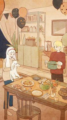 Cute Cartoon Wallpapers, Animes Wallpapers, Aesthetic Art, Aesthetic Anime, Arte 8 Bits, Cute Couple Art, Anime Scenery Wallpaper, Wow Art, Kawaii Wallpaper