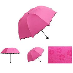Umbrella Rain Women Flouncing Folding Lotus Leaves Princess Dome Parasol Sun/Rain
