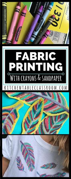 My kids love wearable art. This fabric printing method is especially do-able bec… My kids love wearable art. This fabric printing method is especially do-able because it doesn't require any special fabric medium, just plain old crayons. Diy T Shirt Printing, T Shirt Diy, Printing On Fabric, Fabric Painting, Fabric Art, Fabric Crafts, Dot Painting, Projects For Kids, Art Projects