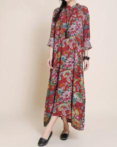 coton femmes longues manches robe / Maxi robe longue robe / Mini par MaLieb sur Etsy https://www.etsy.com/fr/listing/89851529/coton-femmes-longues-manches-robe-maxi